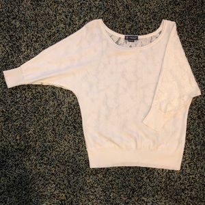 White/cream sweater with lace back